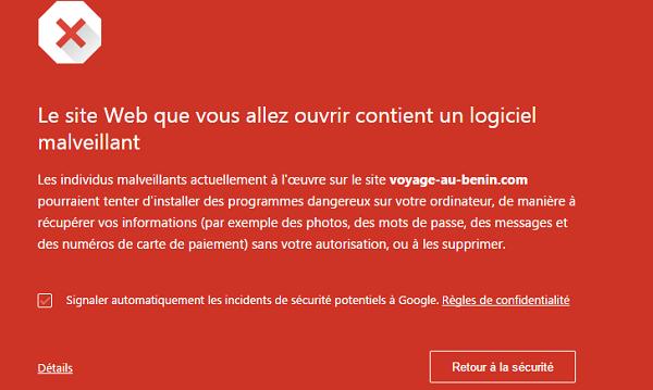 erreur site bloqué voyage au benin